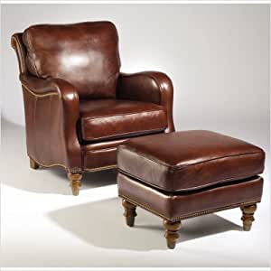 Bundle-77 Tyler Leather Chair and Ottoman Set in Curro Maple (Set of 2) Leather: Curro Maple