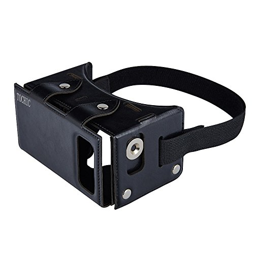 TOCHIC Best New Waterproof PU leather DIY 3D VR Box Google Virtual Reality Headset Glasses Cardboard Movie Game for Smartphones with Headband Black