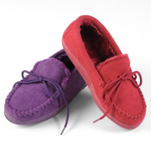 Image of Brinley Co Womens Faux Suede Moccasin Slippers (B0092T56QI)