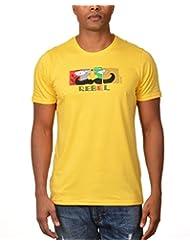 Kuroki Rebel - Mens Yellow Colour Round Neck Tshirts - By Nirvana
