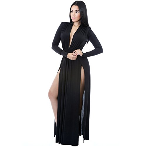 benningco-super-classy-long-sleeves-double-slit-long-maxi-dressblackl