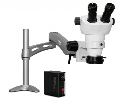 Scienscope Nz-Pk3-Led Nz Series Nz Stereo Zoom Binocular Microscope, Eye Guards, Articulating Arm With 76Mm Focus Mount, 10X Eyepieces, 0.5X Auxiliary Lens, Led Illuminator, Led Ring Light With Power Supply