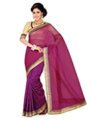 Black Raw Silk Printed And Rani Pink Royal Net Saree With Blouse