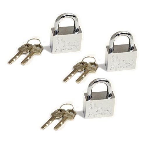 Pack Of 3 Heavy Duty Padlocks With 6 Keys, Same Key For 3 Locks, 40 Mm Wide Body