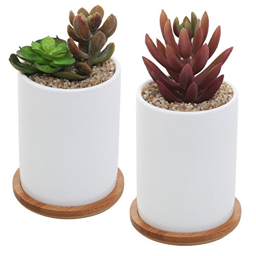 MyGift 4 Inch Set of 2 Ceramic Succulent Plant Pots w/ Removable Bamboo Saucers, White