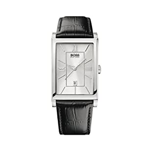 Hugo Boss Men's Quartz Watch with Silver Dial Analogue Display and Black Leather Strap 1512384