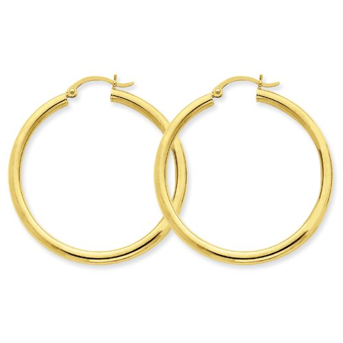 14k Yellow Gold Finish Polished 3mm Round Hoop Earrings