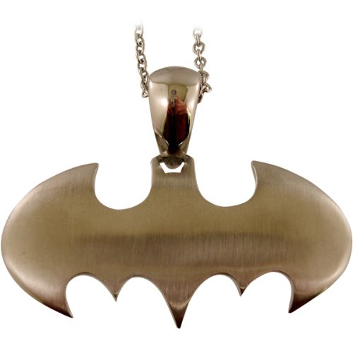 : Batman Stainless Steel Black Bat Pendant (BMPD08SL)