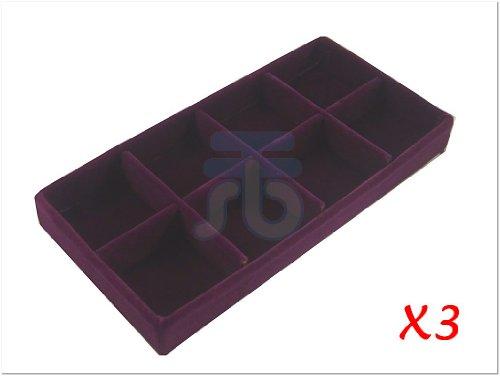 Purple Velvet 8 Compartment Insert Case for Jewlery Display, 22.4x11.2cm, 3 C...