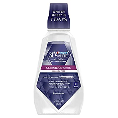 Crest 3D White Luxe Glamorous White Multi-Care Whitening Fresh Mint Flavor Mouthwash 946 mL, Pack of 3 (packaging may vary)
