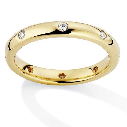 18ct Yellow Gold Diamond set 3mm Court Shape Wedding Band