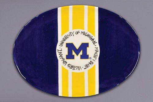 Magnolia Lane Collegiate Ceramic Mascot Platter (Michigan Wolverines) (Wolverine Mascot)