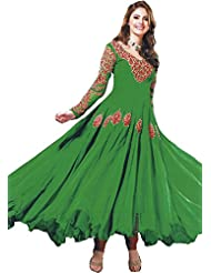 Exotic India Fluorite-Green Anarkali Suit With Embroidered Sequins On Ne - Green