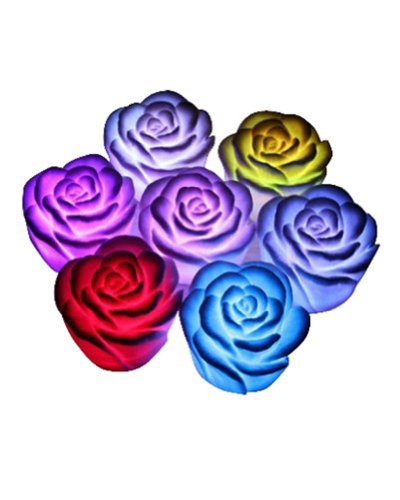 EUBUY Romantic 10 Packs RGB Floating Rose Flower LED Night Light Candle Lamp Wedding Party Favor Decoration