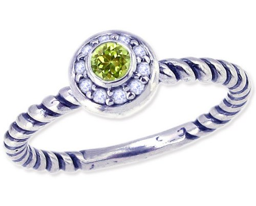 Twisted Sterling Silver Stackable Ring with Round Genuine Gem and Diamond-Peridot-in full,half,quarter sizes from 4 to 12_11.25