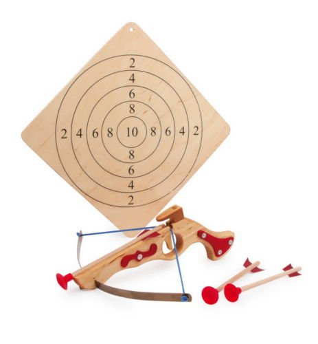 Childrens Wooden Toy Crossbow Garden Outdoor Archery Target Set Sucker Bolt Dart