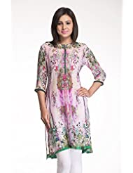 Toscee Pink & Green Viscose Georgette Kurti For Women