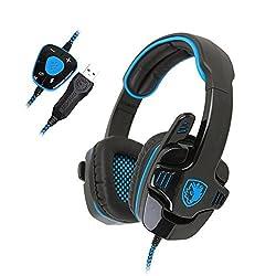 SADES SA901 7.1 Surround Stereo Pro USB Gaming Headset with Mic Deep Bass Headband Headphone (Blue)