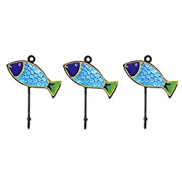 Pottery & Iron - Beach House Fish Wall Hooks - Set of 3 - Iron Hangers for Coats, Aprons, Hats, Towels, Pot Holders (Turquoise)