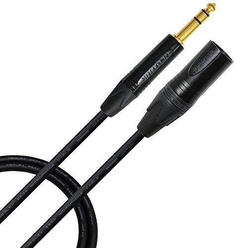 4 Foot - Mogami 2534 Neglex Quad - Balanced Patch Cable terminated with Neutrik NC3MXX-B - Gold Male XLR Connector and Neutrik NP3X-B ¼ Inch (6.35mm) TRS Stereo Phone Plug