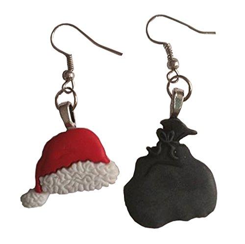 Santa Hat and Bag Dangle Earrings ()