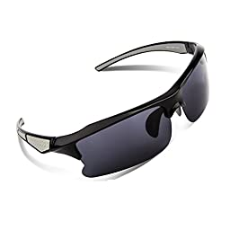 RIVBOS RB302 Polarized Sports Glasses Casual Cycling Sunglasses (Black&Grey)