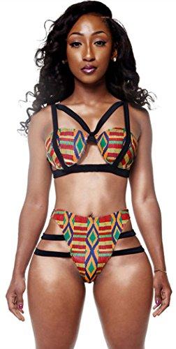Elady Sexy Bikini Swimsuit Print Top Bottom Sets Beachwear, Multicolor African Print, Small