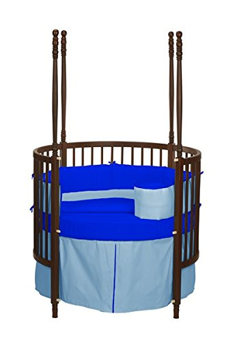 Baby Doll Solid Reversible Round Crib Bedding Set, Light Blue/ Royal Blue