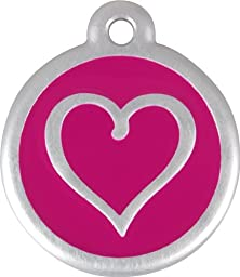 Red Dingo QR Collar Tag, Heart, Large, Hot Pink
