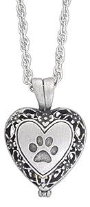 Pet Cat Memorial Bundle - Paw Print Heart Locket & Resin Urn Box