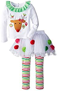 Baby Girl Clothes Kids Christmas Set Long Sleeve T-shirt +Stripe Pant Outfits