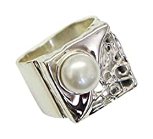 buy 925 Sterling Silver Pearl Ring Handmade Artisan White Fashion Art - Nickel Free