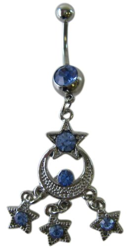 Body Jewelry -Blue Moonlight Stars Rhinestone Belly Ring - Navel Ring