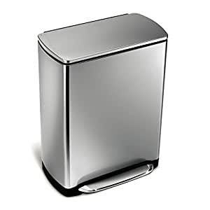 Simplehuman wide step rectangular step trash can stainless steel 50 l 13 2 gal - Rectangular garbage cans ...