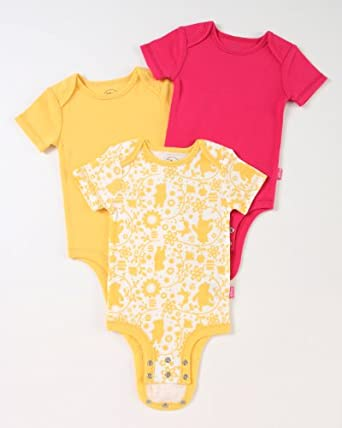 """Disney Cuddly Bodysuit with Grow an Inch Snaps, Winnie the Pooh """"Flowers And Hunny""""  3 Pack, White/Fuschia/Yellow, 3-6 Months"""