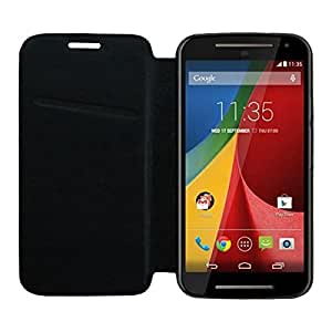 Acm High Quality Rich Leather Flip Case For Motorola Moto G 2nd Gen 2014 Mobile Multi-Color Cover-Black