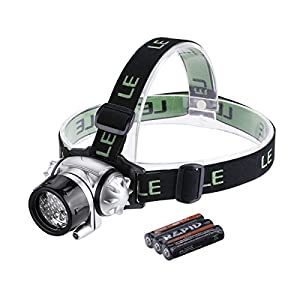 Lighting Ever Led Headlamp, 18 White Led And 2 Red Led, 4 Brightness Level Choice, Led Headlamps, 3 Aaa Batteries Included