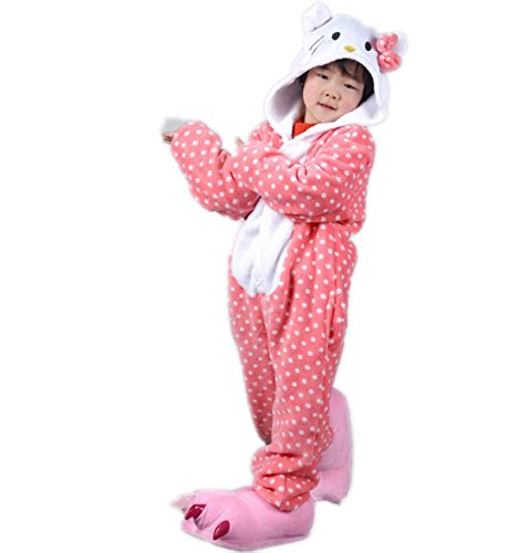 Autek Children Kid Baby Cute Animal Unisex Onesie Fancy Dress Costume Hoodies Pajamas Sleep Wear KT Cat Polka Dot