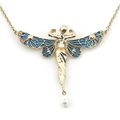V&A Reversible Art Nouveau Fairy Pendant with Pearl||EVAEX