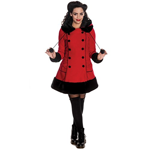 Hell Bunny breve cappotto SARAH JANE COAT Red-black rosso/nero 50/52