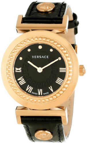 Versace Women's P5Q80D009 S009 Vanity Rose Gold Ion-Plated Stainless Steel Leather Band Watch