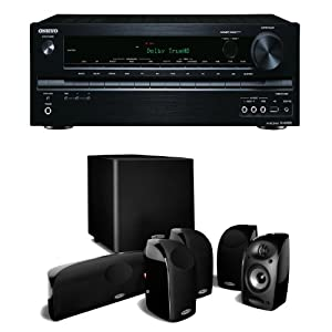 Onkyo TX-NR535 5.2 Channel Network Receiver Plus A Polk Audio TL1500 6 Speaker Home Theater Package by Onkyo