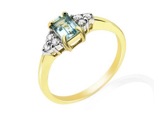 9ct Yellow Gold 0.45ct Aquamarine & Diamond Cluster Ring