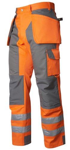Projob Waterproof Hi Vis Kneepad Work Trousers with Holster Pockets Class 2 6509. Grey/Hi Vis Orange D100 Short (W37 x 30L)