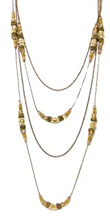 Rush by Denis and Charles Bronze Chain Layering Necklace With Pearls And Crystals
