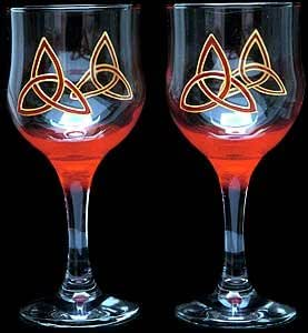 Celtic glass designs set of 2 hand painted for Hand designed wine glasses