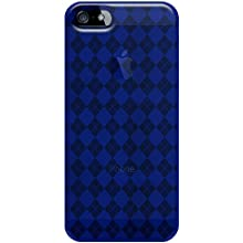 Amzer Luxe Argyle High Gloss TPU Soft Gel Skin Case For IPhone 5 (Blue)
