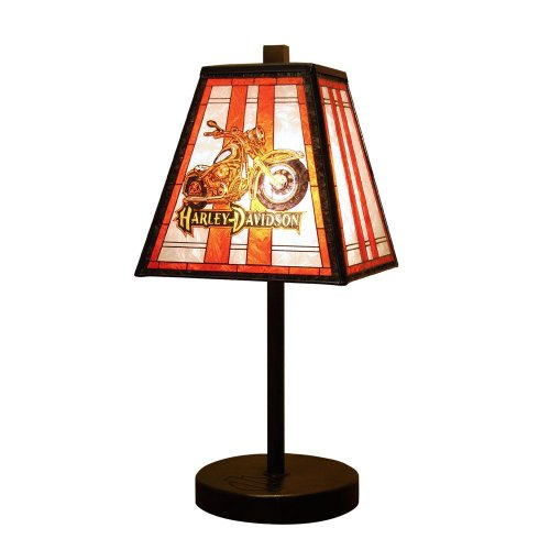 Harley Davidson Art Glass Table Lamp