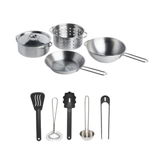 Ikea Stainless Steel 10-piece Children's Pretend Play Cookware and Utensil Set, Silver/black