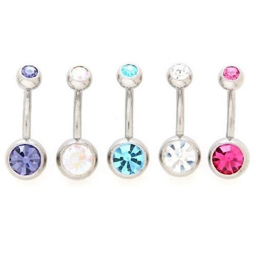 Gem Belly Button Body Jewelry Piercing Ring (10 Pack) - Free Shipping